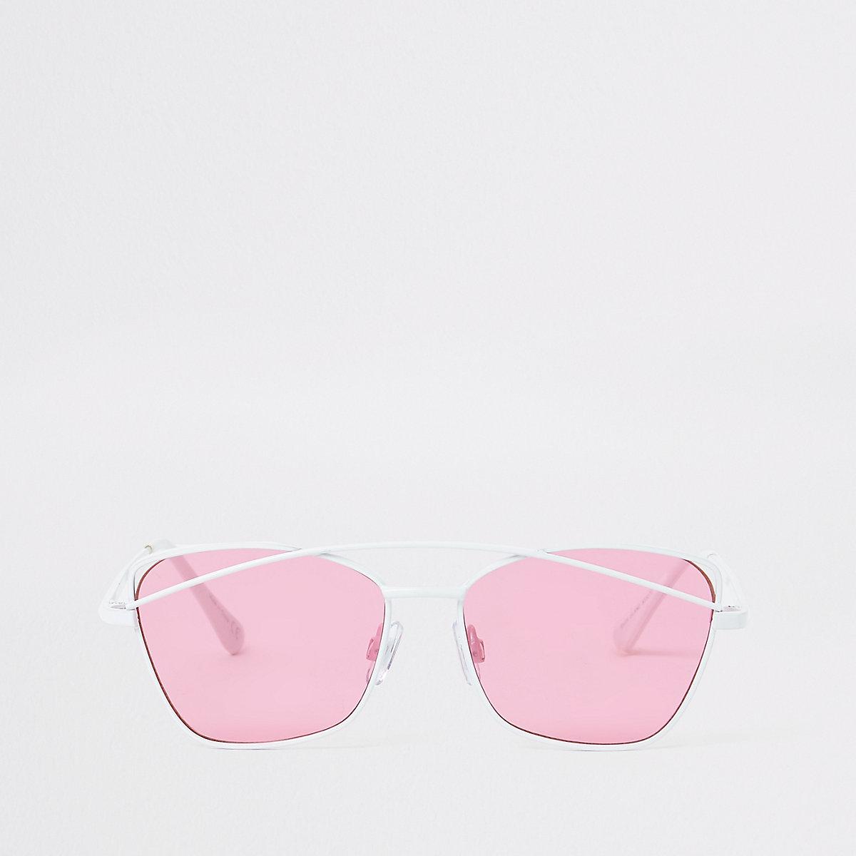 Girls white pink lens sunglasses