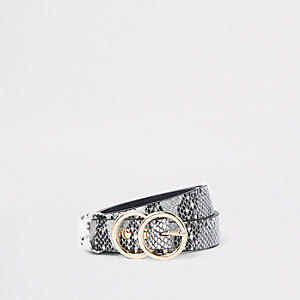 Girls white snake print double circle belt