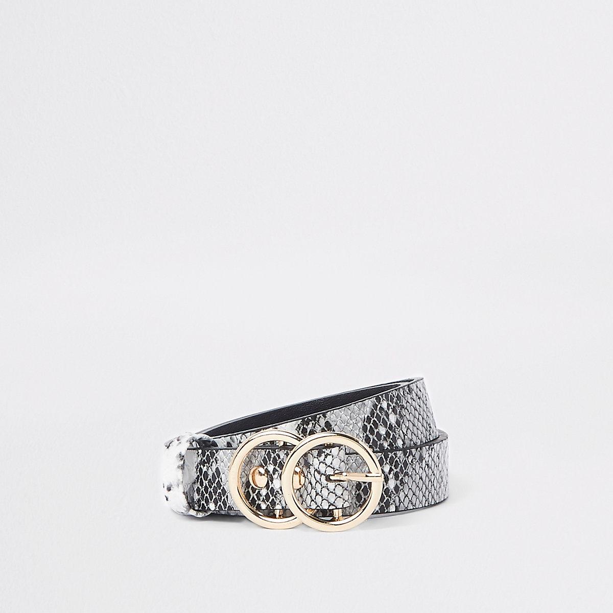 Girls white snake print double circle belt