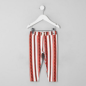 Mini girls red chain print ponte trousers