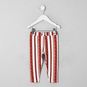 Mini - Rode broek van ponté-stof met kettingprint voor meisjes