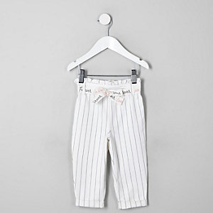 Mini girls white stripe paperbag pants