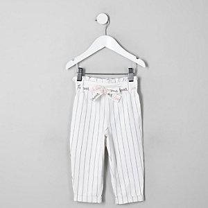 Pantalon rayé blanc à taille haute ceinturée pour mini fille
