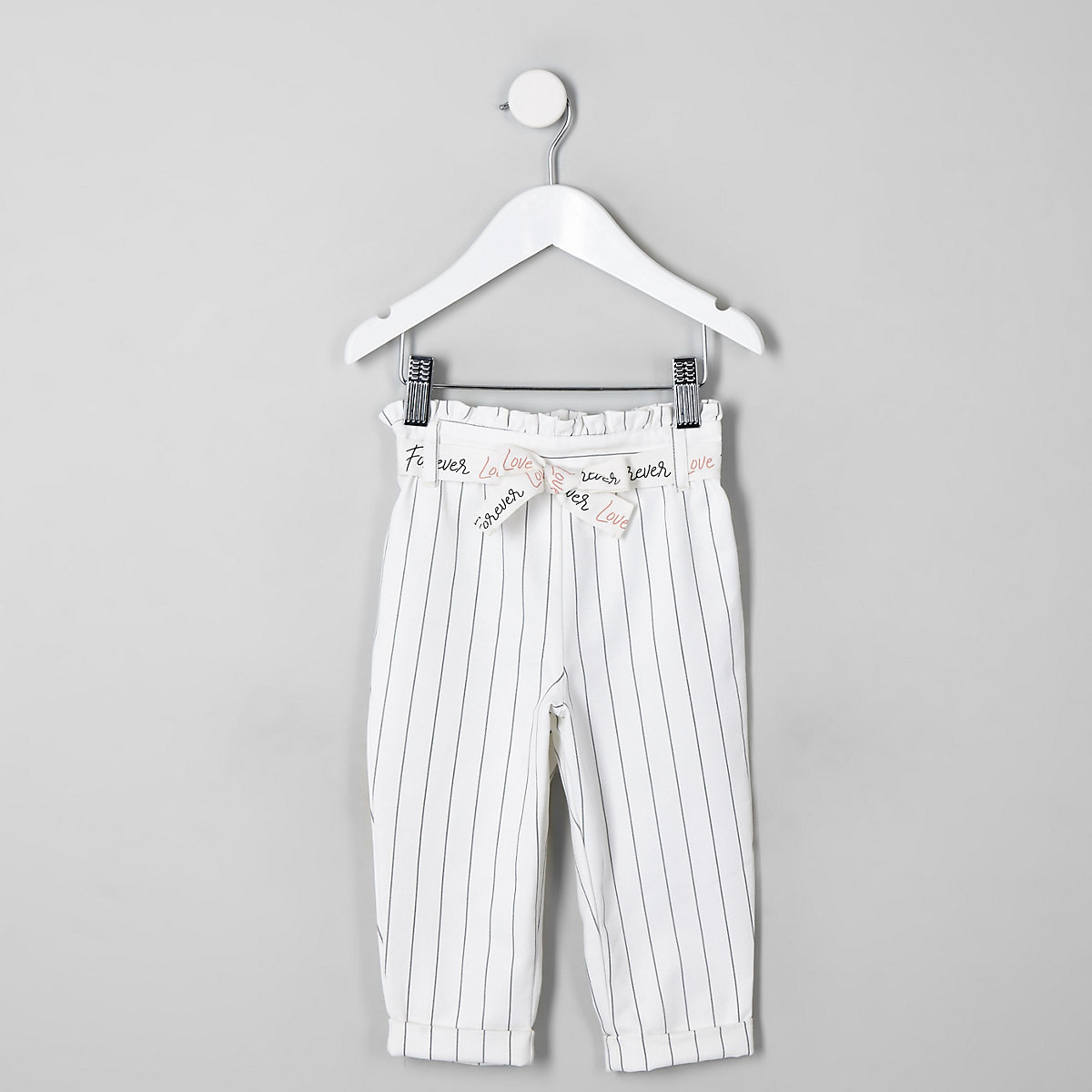 Mini girls white stripe paperbag pants