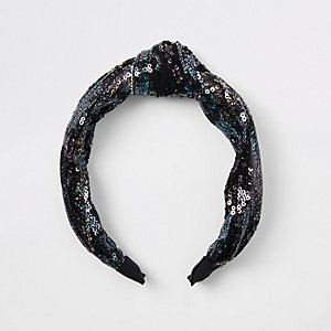 Zwarte hoofdband met knoop en pailletten voor meisjes
