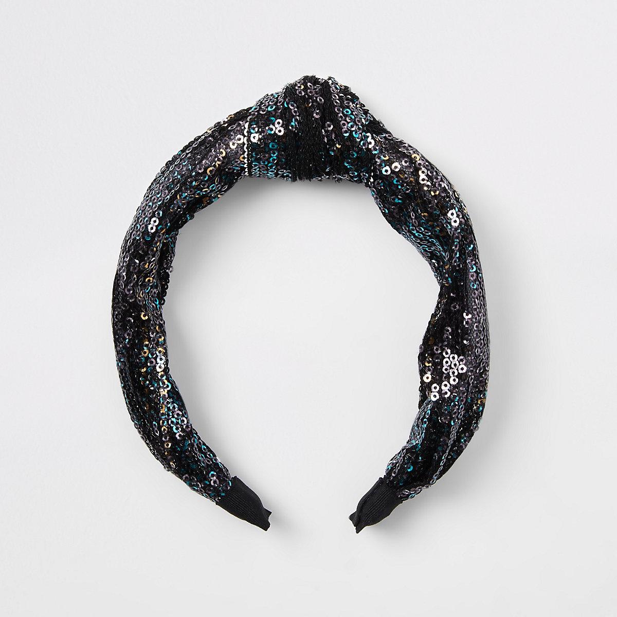 Girls black sequin knot headband