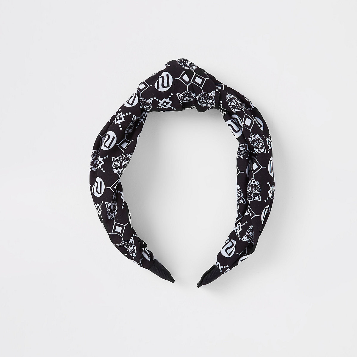 Girl black RI monogram scarf knot head band