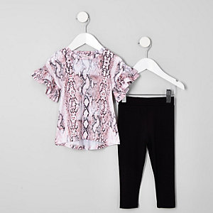 Mini girls pink snake print T-shirt outfit