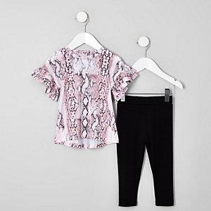 Mini – Rosa Outfit mit T-Shirt in Schlangenlederoptik