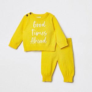 Ensemble avec pull «Good times ahead» jaune pour bébé