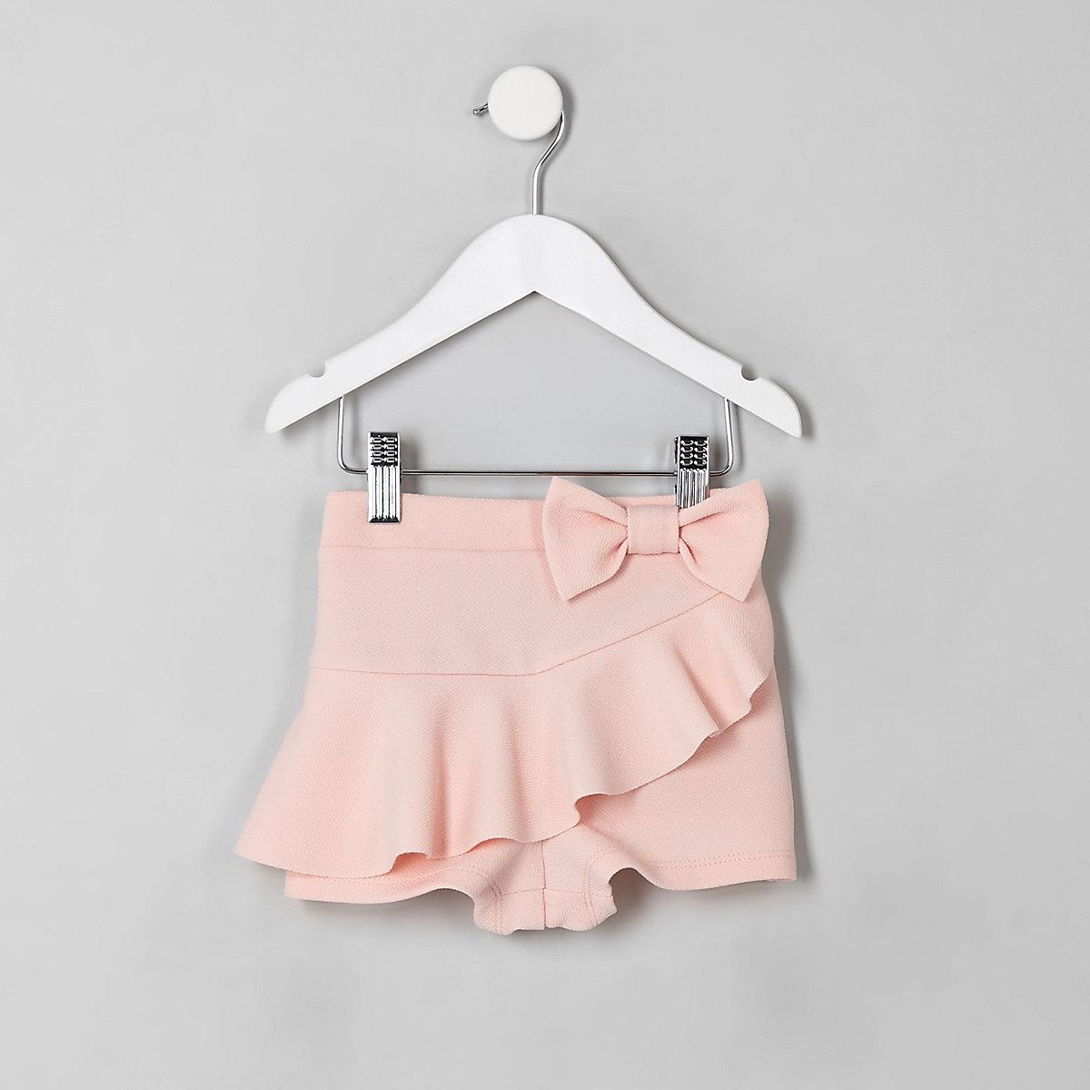 Mini girls pink frill bow skort