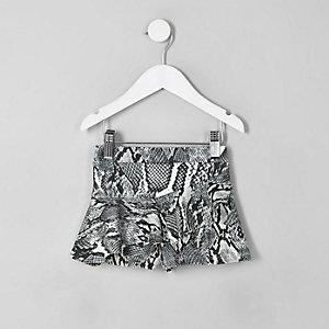 Mini girls black snake print frill shorts