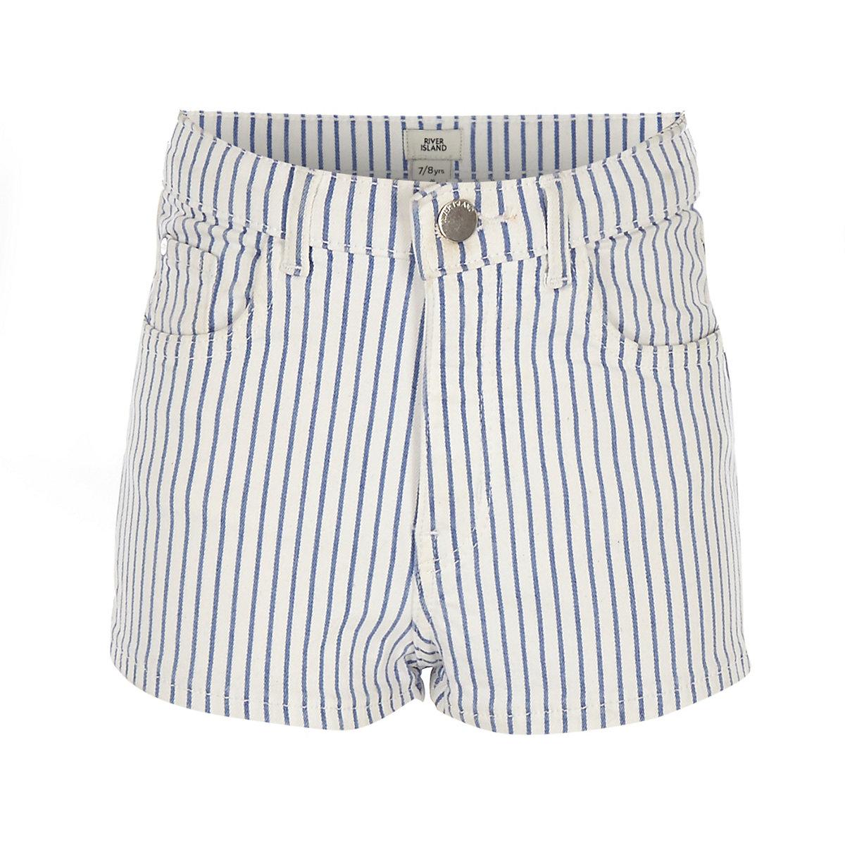 Girls blue Annie stripe high rise shorts
