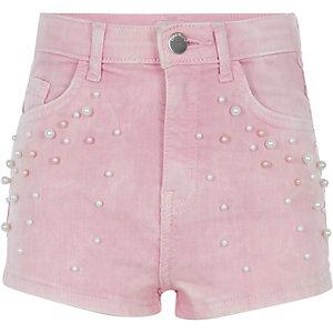 Girls pink pearl embellished denim shorts