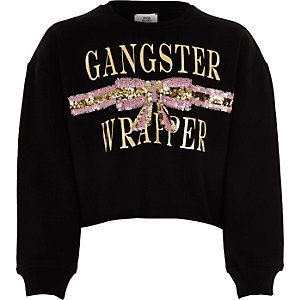 Girls black 'Gangster wrapper' sweatshirt
