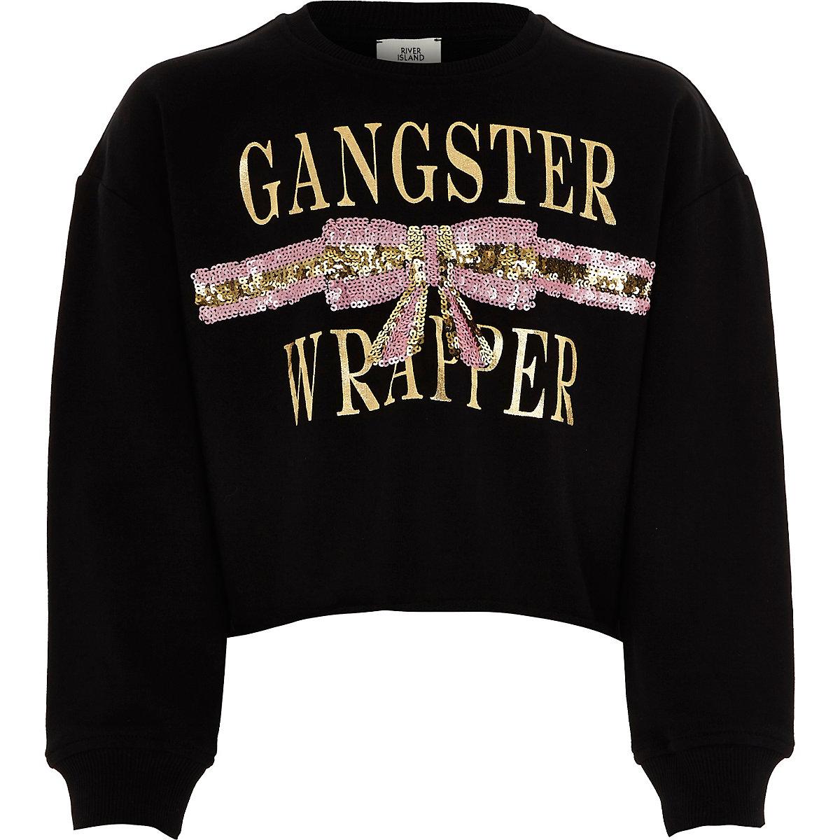 Girls black 'Gangster wrapper' sweatshirt