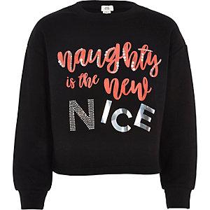 """Schwarzes Sweatshirt """"Naughty is the new nice"""""""