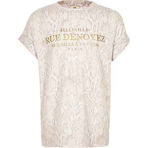 Girls beige snake print T-shirt