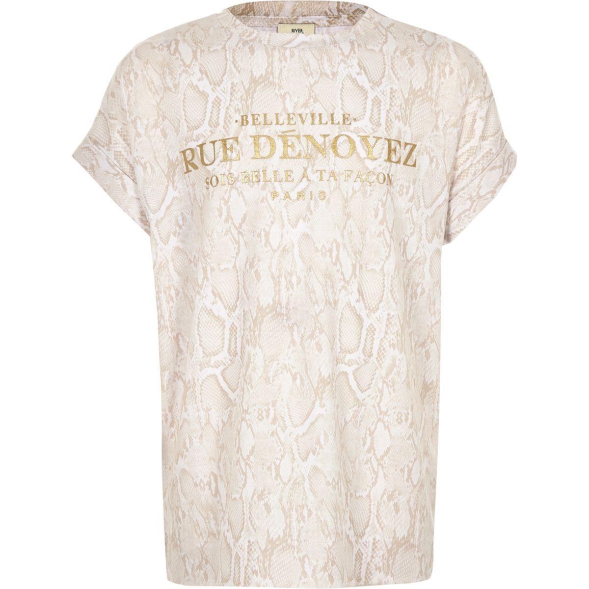 Girls beige snake print T-shirt