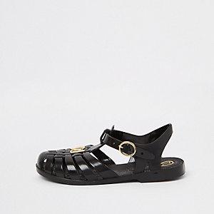 Sandales en plastique noires effet cage pour fille