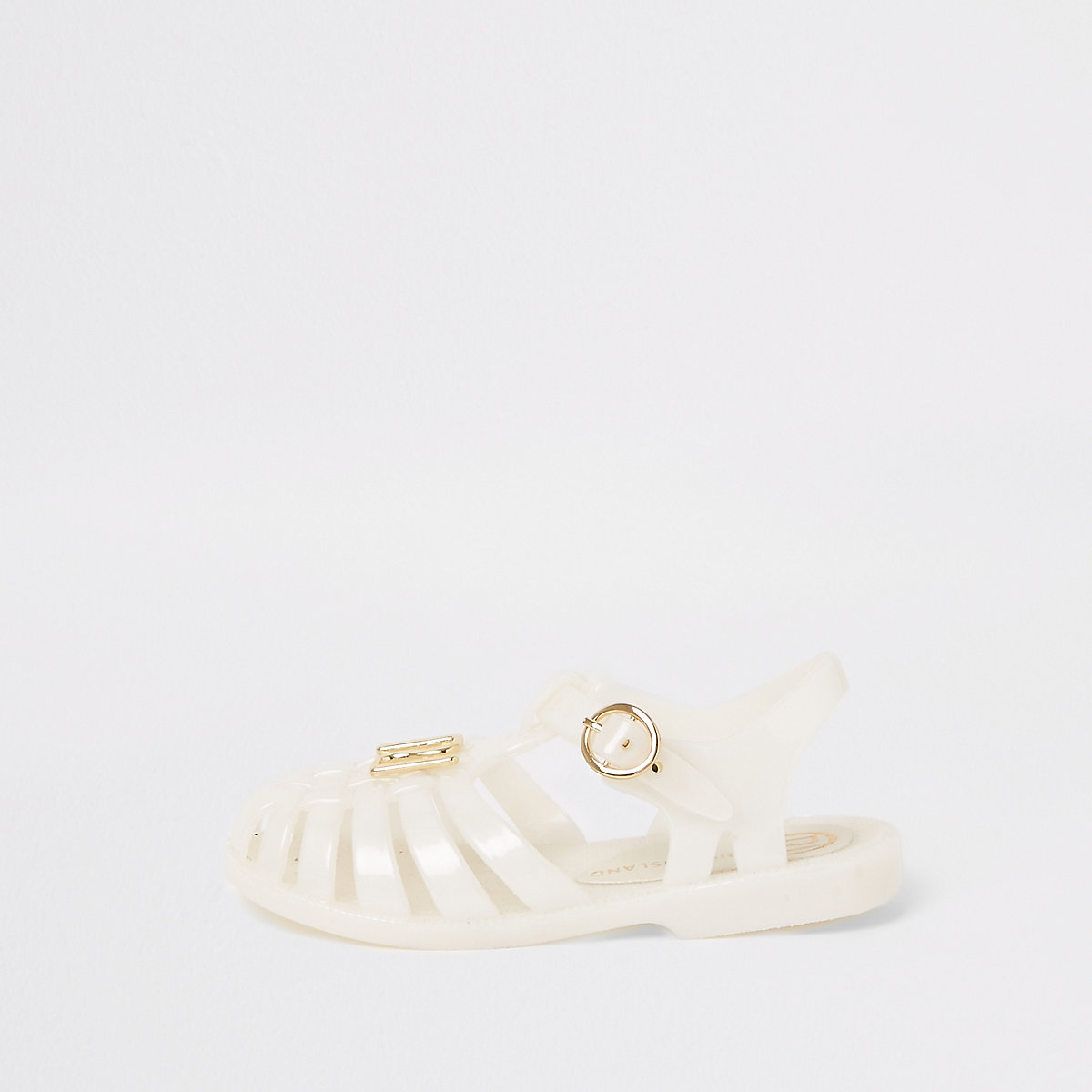 Mini girls white jelly caged sandals