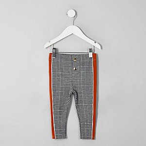 Mini girls grey check tape side leggings