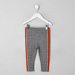 Mini girls grey check tape side leggings