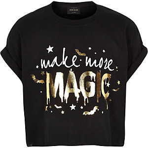 T-shirt d'Halloween « Magic » noir pour fille