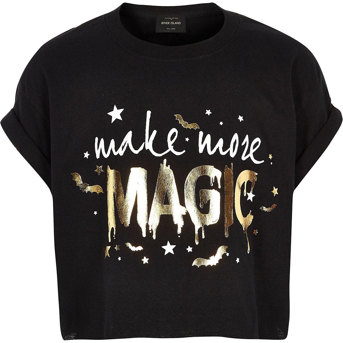 Girls black 'Magic' Halloween T-shirt
