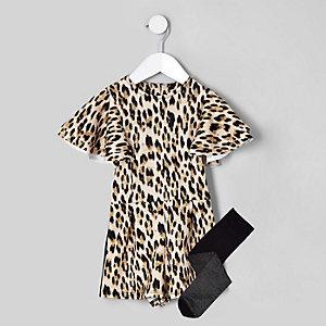 Mini girls black leopard print playsuit set