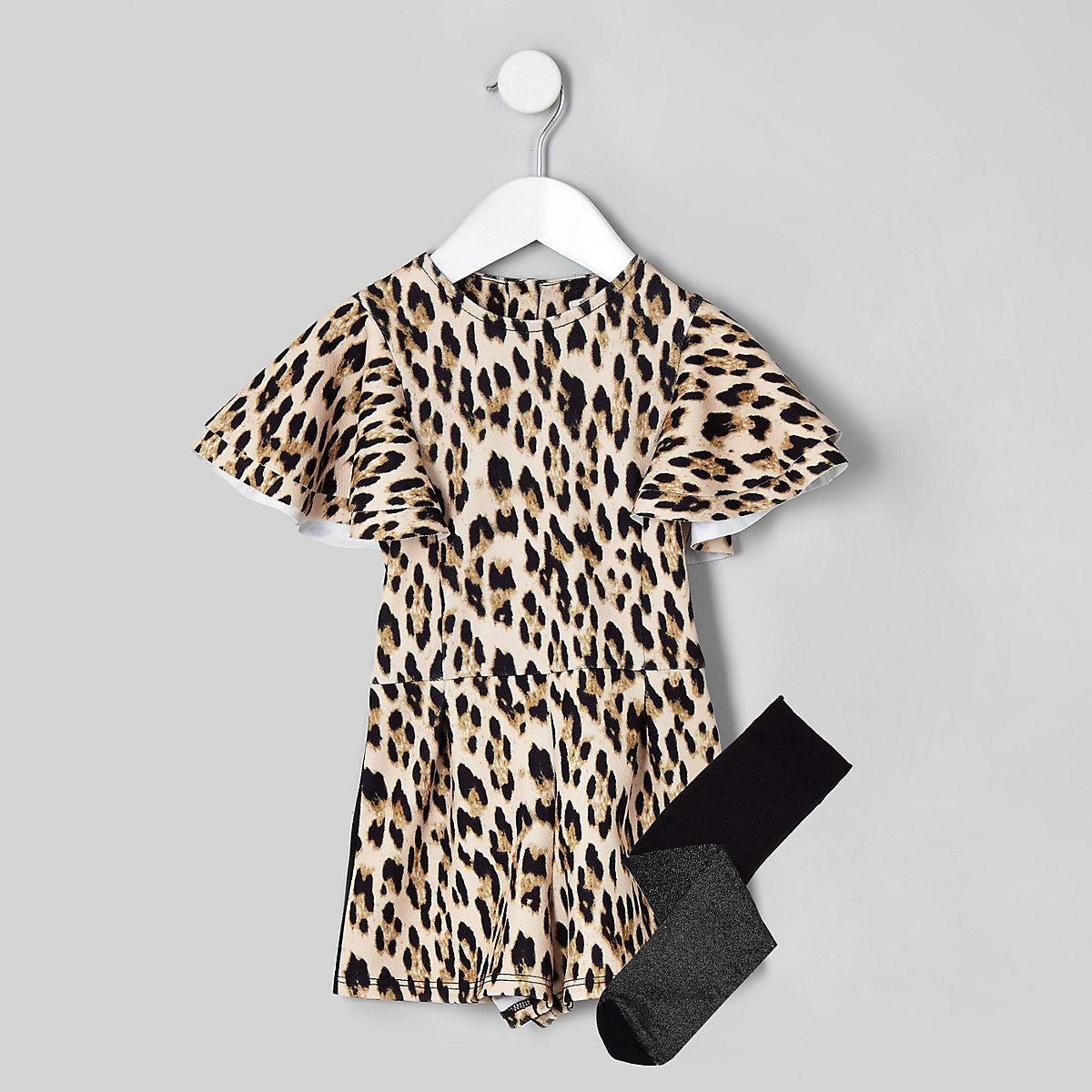 Mini girls black leopard print romper set