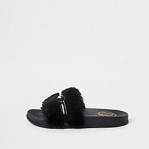 Zwarte slippers met imitatiebont voor meisjes