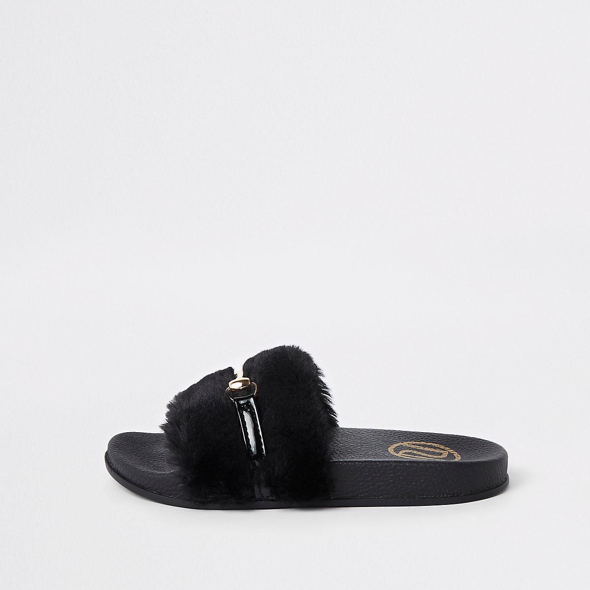 Girls black faux fur snaffle sliders