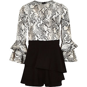Girls white snake print romper