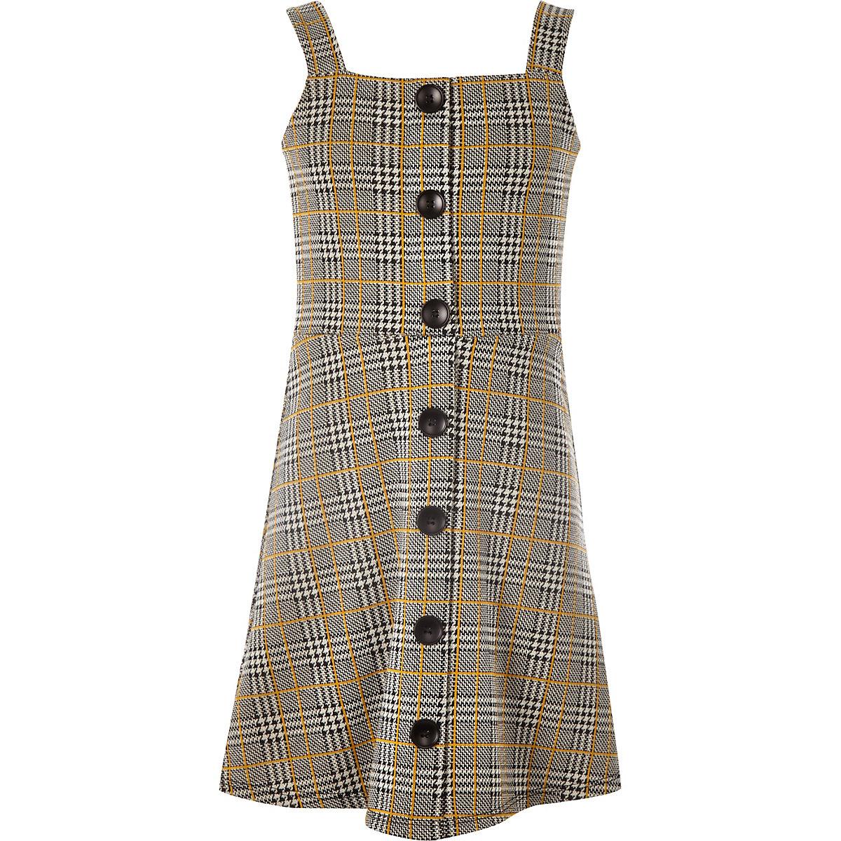 girls grey check pinafore dress