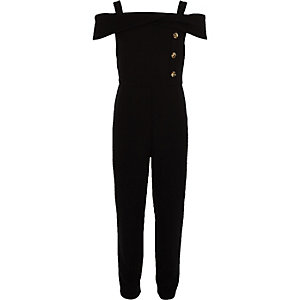 Girls black boat neck jumpsuit