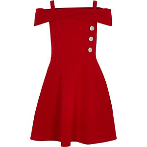 Girls red bardot button dress
