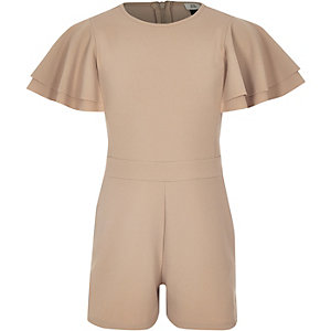 Girls camel tape side romper