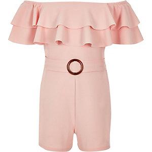 Girls light pink bardot frill playsuit