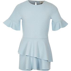 Combi-short façon jupe-short bleu à clair à manches courtes fille
