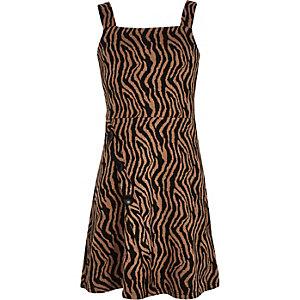 Black zebra print pinafore dress