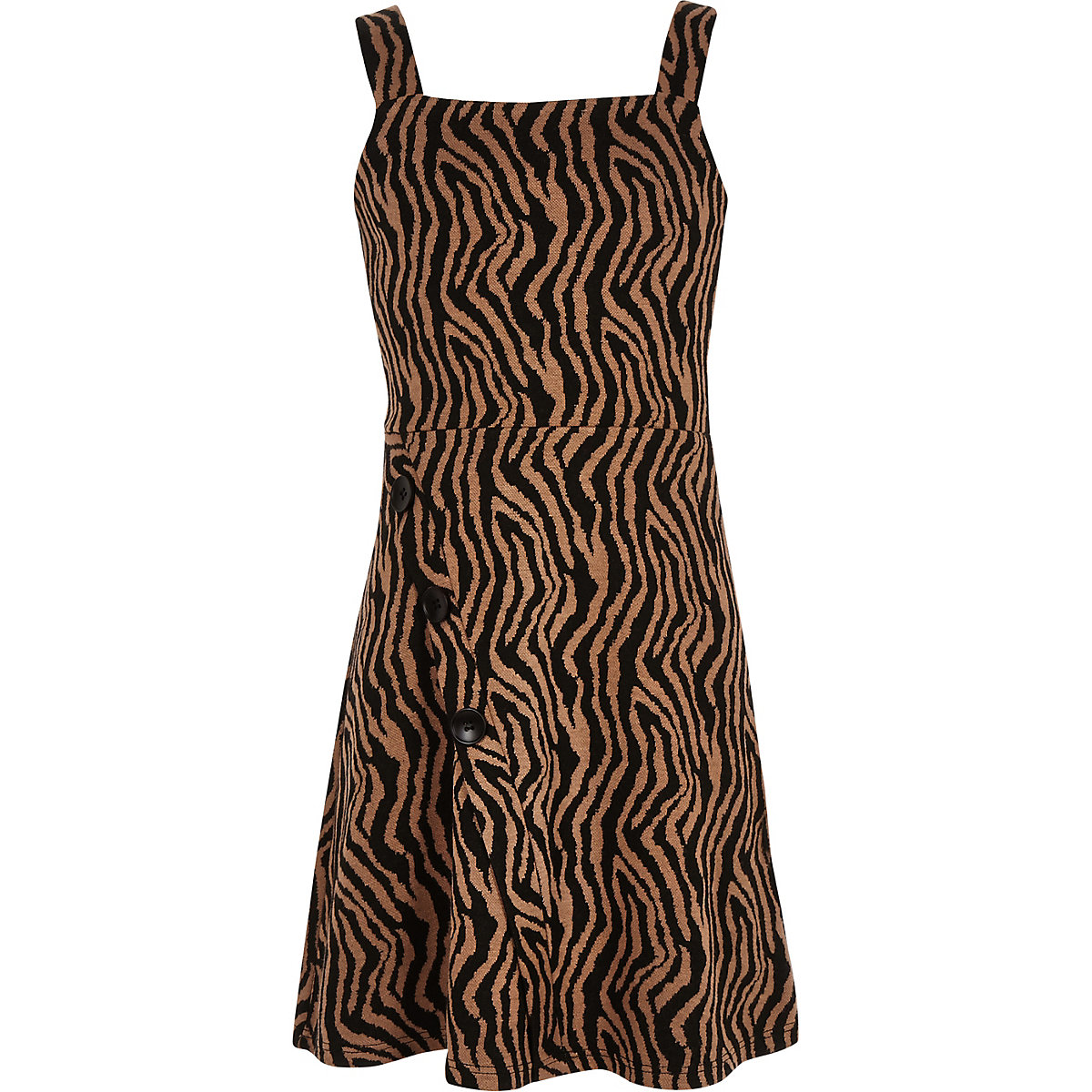 Black zebra print pinafore dress