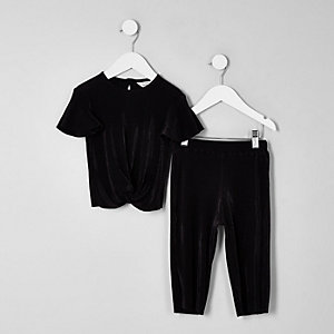 Mini girls black plisse knot front outfit
