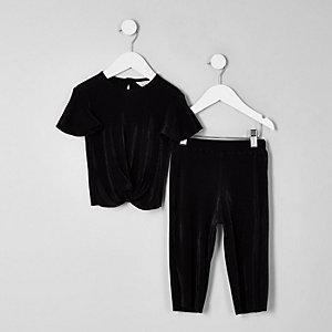 Mini - Outfit met zwarte plissé top met knoop voor meisjes