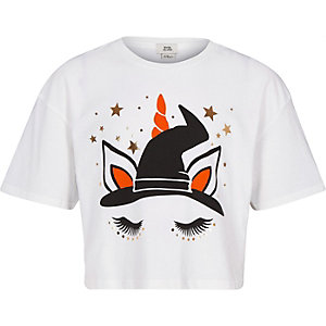 Girls white Halloween unicorn T-shirt