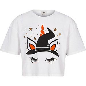 T-shirt d'Halloween blanc motif licorne pour fille