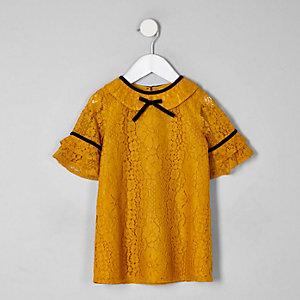 Robe droite en dentelle jaune mini fille