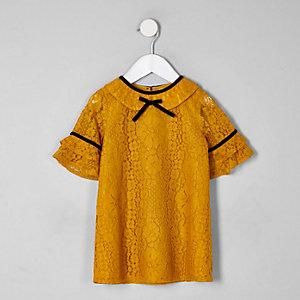 Mini - Gele jurk met kant voor meisjes