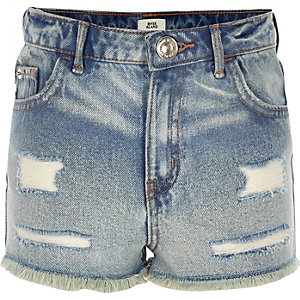 Annie - Blauwe acid wash short met hoge taille voor meisjes