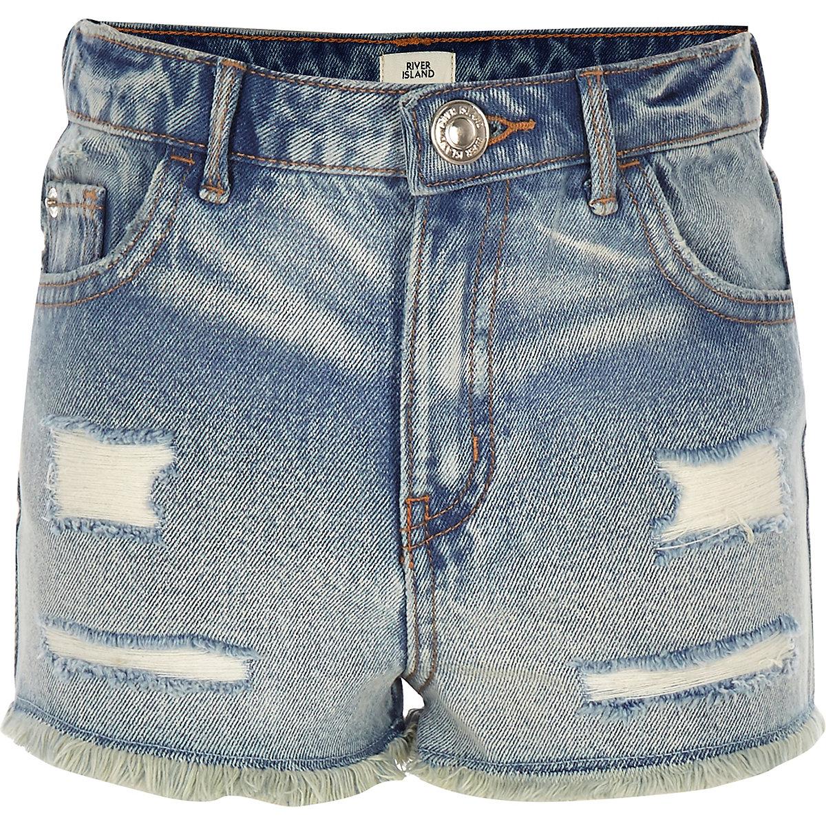 Girls blue Annie acid wash high rise shorts